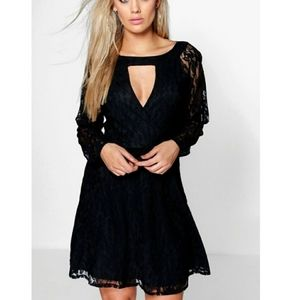 Boohoo Lace Keyhole Front Black Dress Size 20